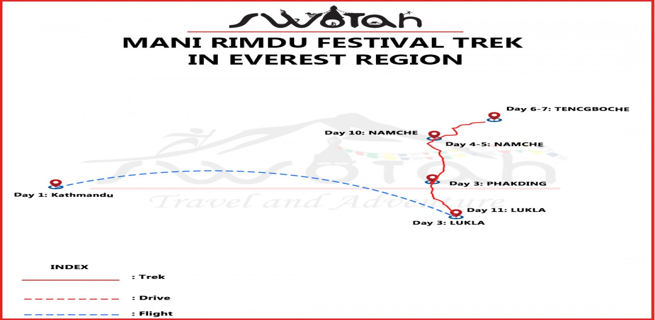 Mani Rimdu Festival Trek in Everest Region map