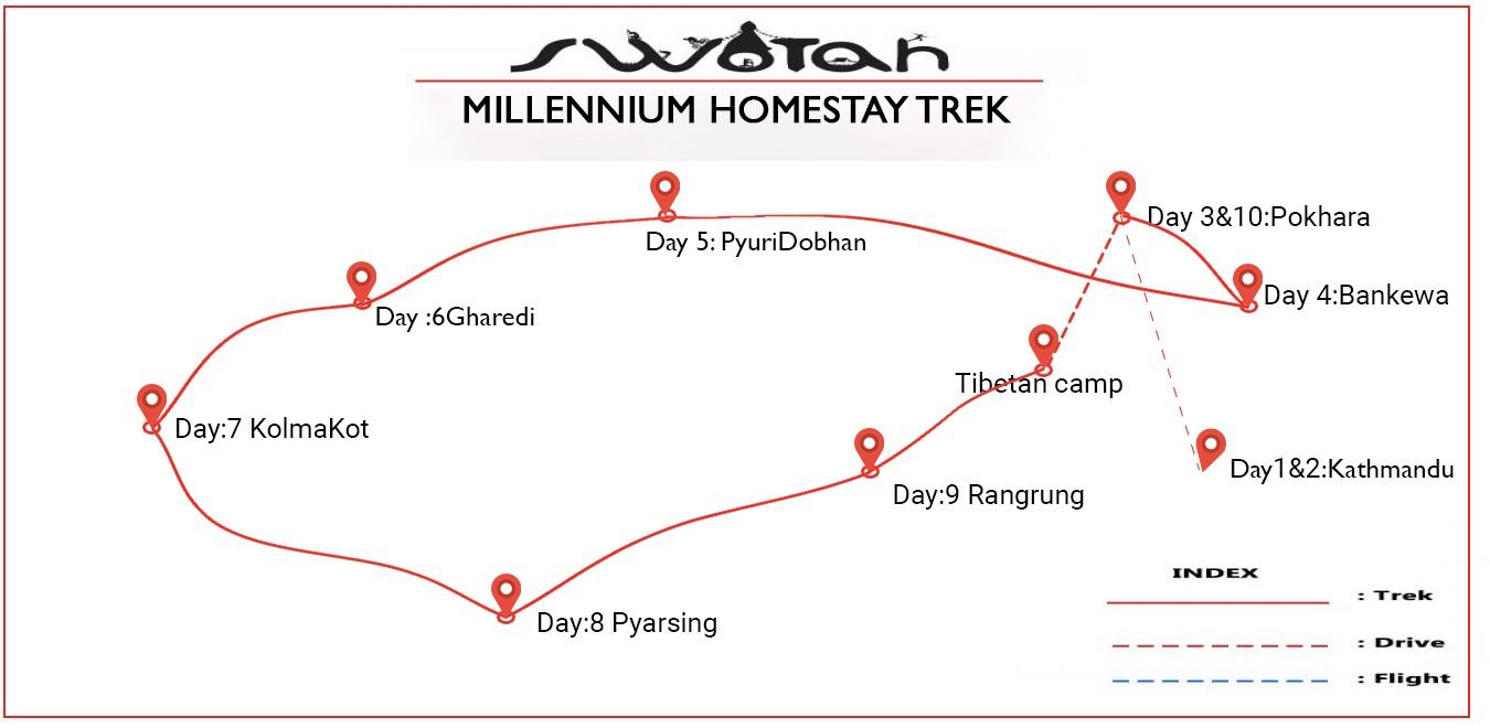 Millennium Homestay Trek map