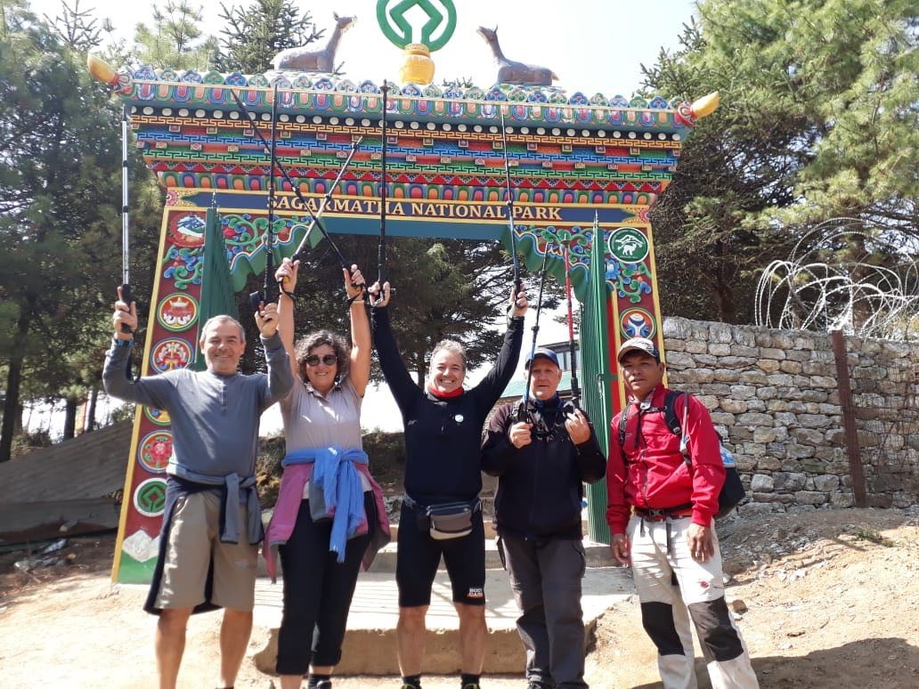 Trekkers at entry gates to Everest Base Camp